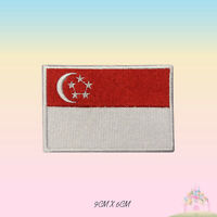 Singapore National Flag Embroidered Iron On Patch Sew On Badge Applique