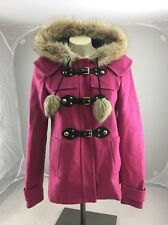 JUICY COUTURE PINK WOOL TOGGLE  FAUX FUR POM POM HOOD COAT JACKET Coat SIZE S