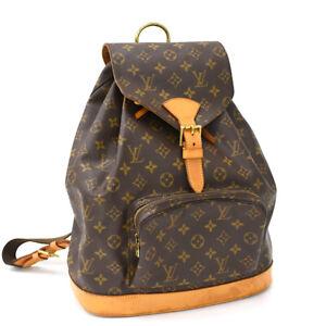 Auth LOUIS VUITTON Monogram Montsouris GM M51135 Backpack Brown Canvas AH2011