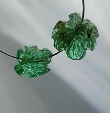 2 Echte gravierte Smaragde Kettenteile ( ges 3,46 Carat ) ca. 7x8 und 9x9 mm