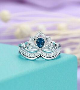 2ct Pear Cut Blue Sapphire Princess Crown Engagement Ring 14k White Gold Finish