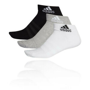 adidas Mens Cushioned Ankle Socks - Black Grey White Sports Running Breathable