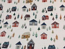 Oilcloth fabric, PVC coated, Fryetts Christmas Village Design, Per Meter, Second