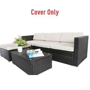 Outdoor Rattan Garden Furniture Cushion Cover Replacement Set, 7 pcs - Cream