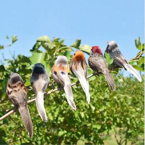 Artificial Bird Feathered Realistic Sparrow Garden Tree Decor Ornament/12Pcs