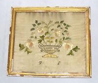 ANCIENNE BRODERIE SUR SOIE EPOQUE EMPIRE CORBEILLE DE MARIAGE XIXE FRANCE 1800