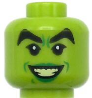 Lego New Lime Minifigure Head Female Black Thick Eyebrows Green Lips the Grinch