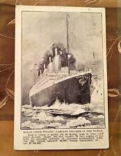 RARE ILLUSTRATED TITANIC POSTCARD JUNE 14, 1912 POSTMARK STAMP WHITE STAR LINE ⚓
