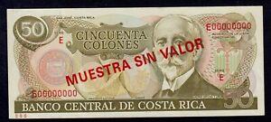COSTA RICA SPECIMEN  50 COLONES    PICK # 257s  AU.