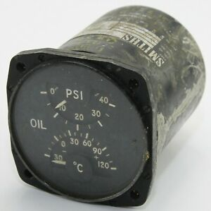 Dual oil temperature and pressure gauge for RAF aircraft