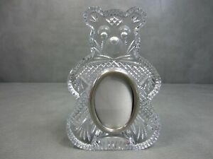 """Waterford Crystal and Silver Plate Teddy Bear Picture Frame 7 1/4"""" Tall"""