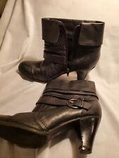 """Ladies Leather Boots Booties Zip Side Buckles St. John's Bay 2 3/4"""" Heels 7.5 M"""