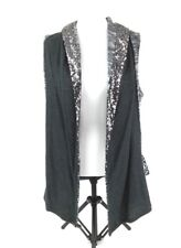 Juicy Couture Womens Shrug Sweater Vest Sz M Black Gray Sequins Sleeveless Hi Lo