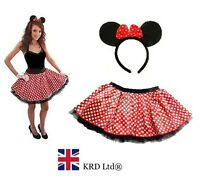 Minnie Mouse TUTU + BOW EARS HEADBAND Red White Polka Dot Skirt Fancy Dress NEW