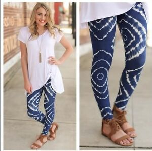 Womens Leggings Blue and White Tie Dye High Quality Best Fabric Ever! OSFM