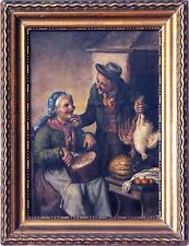 Italian 20th Century Oil Painting by Vincenzo Busciolano Elderly Couple Cooking