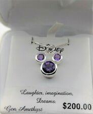 DISNEY® AFRICAN AMETHYST STERLING BIRTHSTONE MICKEY MOUSE NECKLACE #disney