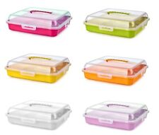 Square Cake Storage Box Large Plastic Cupcake Food Caddy Lid Carrier Container