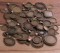 30g Charms Pendant Antique Bronze Pierced Mixed Size Cabochon Base Setting Style
