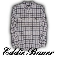 Eddie Bauer Plaid Flannel Button-Front Shirt Mens Size Small White Gray Black