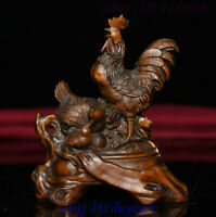 Old Chinese Folk FengShui Boxwood Carved Zodiac Cock Rooster Happy Family Statue