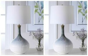 TWO MID CENTURY MODERN FLUTED CERAMIC TABLE LAMP BRUSHED NICKEL METAL UTTERMOST