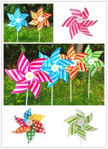 Stripe Windmill Wind Spinner Ornament Decors Garden Yard Home Children Tool TC