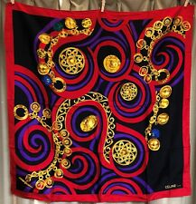 Auth CELINE Scarf Circle Chain Gold Red Purple Black 100% Silk Made in France
