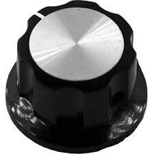 Extra Large Black Knob with Silver Insert and Indicator for Guitars, Amps