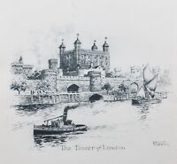Ernest Coffin Etching Art Print Tower of London Unframed on Paper Circa 1930