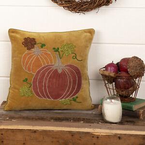 "VHC Brands Country 18""x18"" Velvet Pumpkin Pillow Yellow Appliqued Holiday Decor"