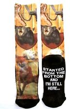 """Mens One Size Brown """"Started From The Bottom And I'm Still Here"""" Novelty Socks"""
