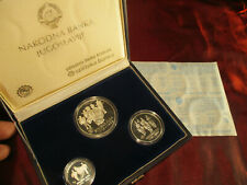 Yugoslavia Silver Proof Set 1000, 2000, 3000 Dinara 1985 Sinjska Alka