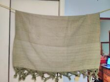 "Vintage Tablecloth Green Yellow with Tassels 54"" x 42"" #130"