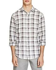New The Mens Store Bloomingdales Gray Plaid 100% Linen Button Down Shirt S