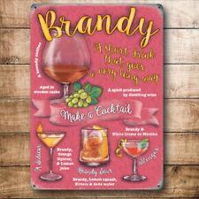 Brandy Cócteles Bebidas recetas Fiesta Bar Pub Club Mediano Metal Acero Signo De Pared