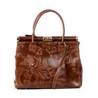 Italian brown tooled calf leather satchel handbag by Vittoria Pacini