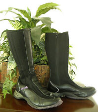 WOSH - MADE IN SPAIN (JUAN BERNAD GRIMA) - BLACK NYLON & LEATHER BOOTS - SIZE 8M
