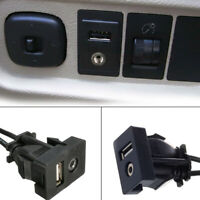 3.5mm USB Port AUX Extension Cable Lead Mounting Panel Car Dashboard Flush-Mount