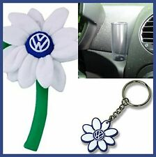 VW New Beetle WHITE Flower Daisy 1- Matching Key Chain & 1 Clear Vase OEM