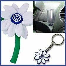 VW New Beetle WHITE Logo Volkswagen Daisy Flower 1- Key Chain & Clear Vase OEM