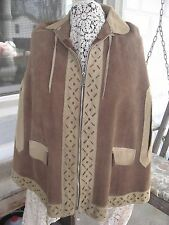 Suede Leather Boho PONCHO Hippie CAPE Sm / Med 1970s Ready to Wear Brown