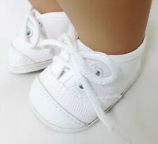 White Canvas Tennis Shoes for 15 inch Bitty Baby & Twin Doll Clothes
