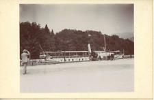 France, Annecy, Le ponton du lac et le bateau  vintage citrate print  Tirage c