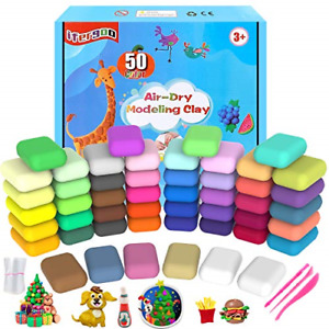 iFergoo Air Dry Clay, 50 Colours Modelling Clay for Kids, Safe and No-Toxic Clay