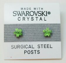 Green Flower Stud Earrings 5mm Small Light Crystal  Made with Swarovski Elements
