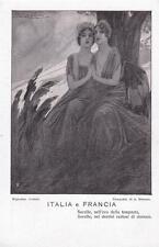 """A9806) WW1 ITALIA E FRANCIA """"SORELLE ... NELLA TEMPESTA, SORELLE ... DOMANI""""."""