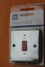 BG Nexus Metal Slimline Screwed 1G Single 45A DP Switch + Neon Polished Chrome