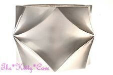 Chunky Geometric Diamond Silver Satin Nickel Finish Wide Hinged Statement Bangle