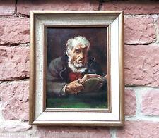 Lector hombre mayor con Libro Marinero? Antiguo Pintura al óleo firmado E.